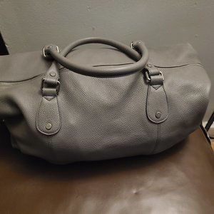 Doucal's Gray Pebbled Leather Weekender Duffle
